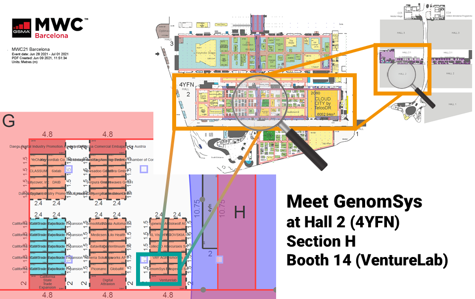 Floorplan MWC 2021 GenomSys Hall 2 Section H Booth 14